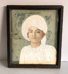 19 c Antique Artist Fine Hand Oil Painting Royal Indian Man Painting Hard Board  #Asian