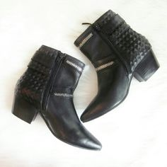 Steve Madden leather booties New without tags! Never worn! Leather upper. Perfect all year round black bootie! 2 inch heel.  Bundle for best deals! Hundreds of items available for discounted bundles! You can get lots of items for a low price and one shipping fee!  Follow on IG: @the.junk.drawer Steve Madden Shoes Ankle Boots & Booties