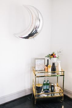 Bar carts are always a good idea! Love You to the Moon and Back: A Galaxy Inspired Baby Shower