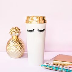 Gold Foil Luxury Chic Girl Boss Lady Travel Mug cup Office Gift Eyelashes Lashes Coffee Gift for Her Mugs Shiny Teaware Drinkware Make-up Artist Lash Stylish