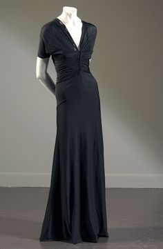 Madame Grès evening dress in black matte silk jersey 1938