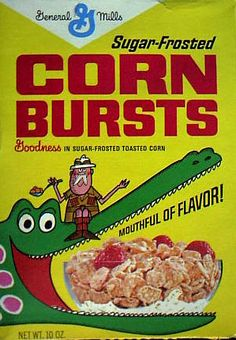 Sugar Frosted Corn Bursts - I'm not quite sure I understand the illustration on this box or how it pertains to this cereal. That's fine, tho. Retro Advertising, Retro Ads, Vintage Advertisements, Vintage Ads, Vintage Food, Retro Food, Vintage Posters, Retro Recipes, Vintage Recipes
