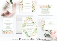 A beautiful Pink Floral Wedding Invitation Set. Whether you're having a garden or botanical themed wedding.This Wedding Invitation Set is part of the Adore collection. Instantly download and personalize this Pink Floral Wedding Invitation Set right in your web browser.  #floralweddinginvitation  #floralweddinginvitationset  #blushweddinginvitation  #gardenweddinginvitation  #botanicalweddinginvitation  #printableweddinginvitation