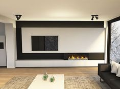 Painel Tv Sala Grande, Living Room Tv Cabinet, Living Tv, Modern Tv Wall Units, Family Room Fireplace, Elegant Living Room, Living Room Inspiration, Living Room Designs, New Homes