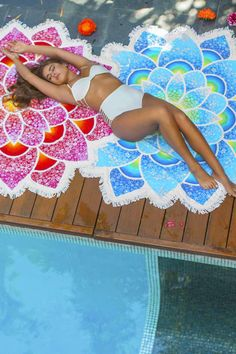 Beach Party Floral Fringe Beach Towel
