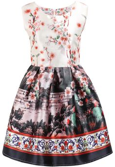 Pink Sleeveless Floral Walls Print Dress pictures