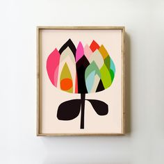 The Waratah Abstract Art Print by inaluxe is a bold, bright design, geometric and timeless. Painting Collage, Gouache Painting, Modern Prints, Fine Art Prints, Abstract Flowers, Abstract Art, Bd Art, Australian Native Flowers, Australian Plants