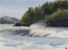 "A Study in Surf by Poppy Balser Watercolor ~ 5"" x 7"""