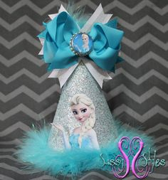 Elsa from Frozen Birthday Hat Accessory and Bow by SassyStylesbySS, Perfect addition to your upcoming party!