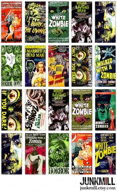 ZoMBiES  Digital Printable Collage Sheet  Cult Classic by JUNKMILL, $3.95