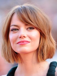 This shapely bob is one of the best we've seen. The parted fringe frames Emma's face and the choppy ends makes it super-modern. We'll be taking this one to the hairdressers. -Cosmopolitan.co.uk