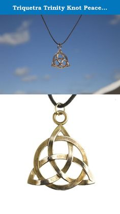 Triquetra Trinity Knot Peace Bronze Pendant Necklace on Adjustable Natural Fiber Cord. The Triquetra is an ancient symbol representing Earth, Sky and Sea. In the Christian tradition it has come to celebrate the Holy Trinity: Father, Son and Holy Spirit. In modern times it has also come to represent the Triple Goddess: Maiden, Mother and Crone. From War to Peace turns weapons meant to destroy us into art meant to restore us, swords into plowshares, bombs into beauty, hate into & war into...
