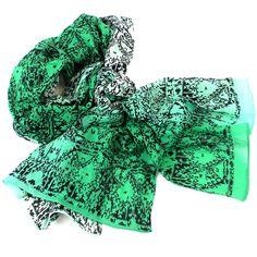 Three Shades Green Cotton Scarf - India