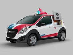 A modified Chevrolet Spark with warming oven can hold, up to 80 Domino's pizzas to be delivered hot. Domino's Pizza Inc. is working with General Motors Co., to build a small fleet of custom delivery cars, with Chevrolet Spark, General Motors, Dominos Pizza, Pizza Company, New Pizza, Restaurant Marketing, Perfect Pizza, Pizza Delivery, Delivery Food