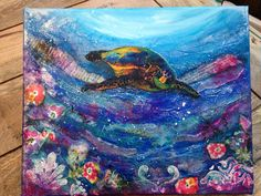 Turtle mixed media canvas