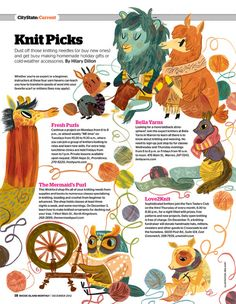 Recent page illustration for Rhode Island Monthly. Oh, these chilly winter days make me wish I were a lion who also knits!