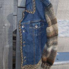 Upcycled Designer Denim Jacket, Sweater Sleeves, Wool Blend Yarn, Women's size 14. $59.00, via Etsy.