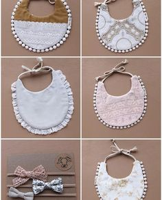 Unique Handmade Baby Bibs, Bows, Paci Clips and Handgemachtes Baby, Girl Baby Bibs, Bibs For Babies, Billy Bibs, Baby Bibs Patterns, Bib Pattern, Diy Bebe, Baby Sewing Projects, Stylish Baby