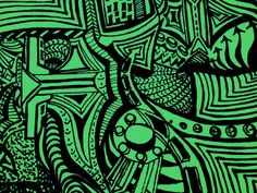 Something different to do zentangle... Do zentangling on a green paper with a black sharpie marker.  Awesome..