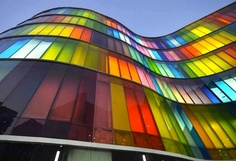 Colorful stained glass building