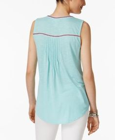 Style & Co Petite Peasant Top, Only at Macy's - Orange P/XL