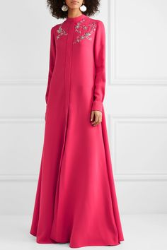 Pink silk-georgette Concealed snap fastenings through front silk Dry clean Abaya Fashion, Modest Fashion, Couture Fashion, Fashion Dresses, Quinceanera Dresses, African Fashion, Silk, Formal Dresses, Casual