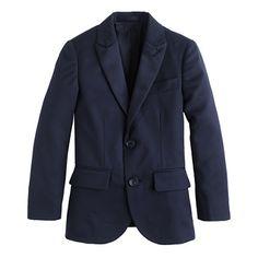 J.Crew - Boys' Ludlow navy or black peak lapel tuxedo jacket in Italian wool $235
