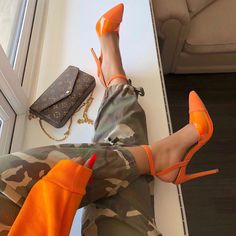 Orange Suede PVC Stiletto Heels Pointed Toe Slingback Pumps Navy and White Stripes Bow Heels Pointed Toe Slingback Pumps for School, Date, Big day, Anniversary Stilettos, Pumps Heels, Stiletto Heels, High Heels, Heeled Sandals, Flats, Trendy Shoes, Cute Shoes, Orange Heels