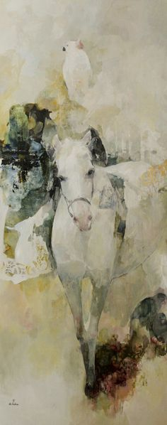 """Le cheval"" by italian artist Françoise de Felice. Painted Horses, Art And Illustration, Illustrations, Art Amour, Art Graphique, Equine Art, Horse Art, Horse Horse, Animal Paintings"