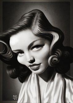 ArtStation - Lauren Bacall caricature, Alexandru Popa