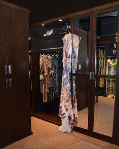 Designer Naeem Khan's archival closet built in a dark wood to really showcase the clothes. Lady Gaga Dresses, Custom Closets, Naeem Khan, Dress Cuts, Dark Wood, Showroom, Conference, Ready To Wear, Kimono Top