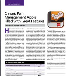 "App Review by Lisa Mueller, DPT-Chronic Pain-""My Pain Diary"" App.  Filled with great features! Pinned by SOS Inc. Resources @sostherapy http://pinterest.com/sostherapy."