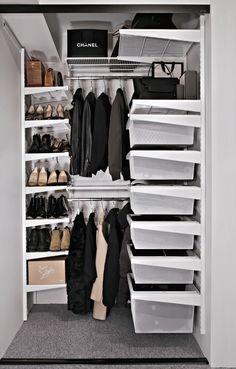 Smart storage with Elfa Elfa Closet, Closet Storage, Wall Storage, Storage Ideas, Small Closets, Small Laundry Rooms, Small Space Storage, Smart Storage, Walk In Closet Inspiration
