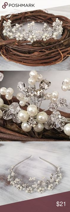Pearls Austrian crystals silver headband tiara Meant to be worn as a headband. No loops at ends like a tiara. Bridal white faux pearls. Silver plate. New. Jewelry