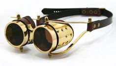 STEAMPUNK GOGGLES solid brass brown leather polished