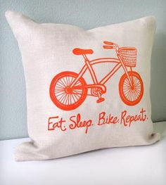 Eat Sleep Bike Pillow Cover