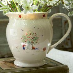 Stunning handpainted Caroline Zoob 'Apple Picking' jug.