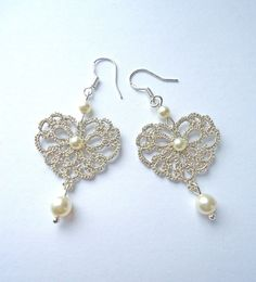 Tatted Lace Jewelry Silver earrings  lace hearts by ElenaRakovska, $27.00