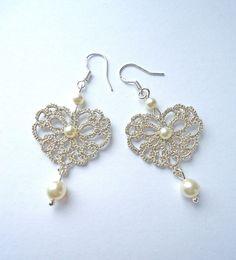 Tatting Lace Jewelry Silver earrings hearts Lace by ElenaRakovska Tatting Earrings, Tatting Jewelry, Lace Jewelry, Tatting Lace, Fabric Jewelry, Jewelery, Crochet Earrings, Silver Jewelry, Jewellery Earrings