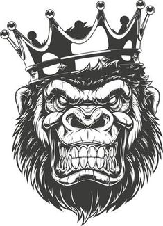 Illustration of Vector illustration, ferocious gorilla head on with crown, on white background vector art, clipart and stock vectors. Tattoo Dotwork, Desenho Tattoo, Head Tattoos, Body Art Tattoos, Tattoo Sketches, Tattoo Drawings, Gorilla Wallpaper, Gorilla Tattoo, Crown Tattoo Design