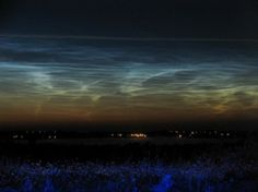 Noctilucent Clouds or Polar Mesopheric Clouds: This is an extroadinarily rare cloud formation that occurs out on the verge of space between 82km to 102 km from the earth's surface. Noctilucent clouds appear to be luminous yet they reflect the sunlight from the other side of the earth at night, giving them a glowing appearance