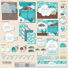 """Instant Download - Showered With Love Baby Shower - """"The Hostess"""" PRINTABLE Party Collection (Teal/Chocolate)"""