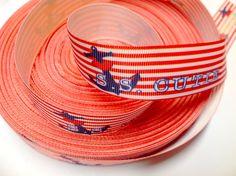 1 Yard 7/8 inch S.S. CUTIE - RED STRIPES - NAUTICAL ANCHOR - Printed Grosgrain Ribbon