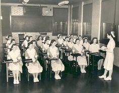The Piedmont Hospital School of Nursing students in class in Atlanta, c. 1953.