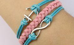 infinity bracelet anchor bracelet braided bracelet by mildredrital, $6.99