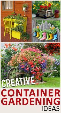 Container gardening, gardening hacks, easy gardening, easy ways to garden, popular pin, DIY garden containers.