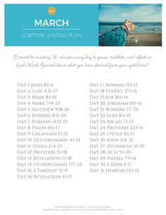 March Bible Reading Plan / March Scripture Writing Plan