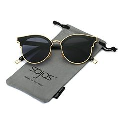 4498e9039955 SojoS Fashion Round Cateye Women Sunglasses Oversized Flat Lens SJ1055 Gold  Frame Grey Lens Sojos