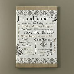 Our Life Together Personalized Canvas Art