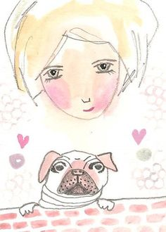 Pug art aceo dog and girl art card original pink by Coramantic on Etsy https://www.etsy.com/listing/211277142/pug-art-aceo-dog-and-girl-art-card